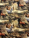 GALLOPING HORSES - Animals - Fabric 100% Cotton - Price Per Metre